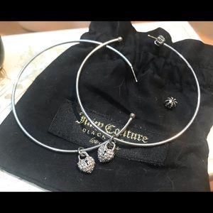 Juicy Couture vintage earrings heart charm hoops